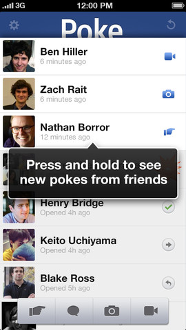 how to find pokes on facebook iphone