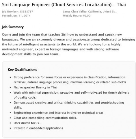 Siri Language Engineer (Cloud Services Localization) - Thai