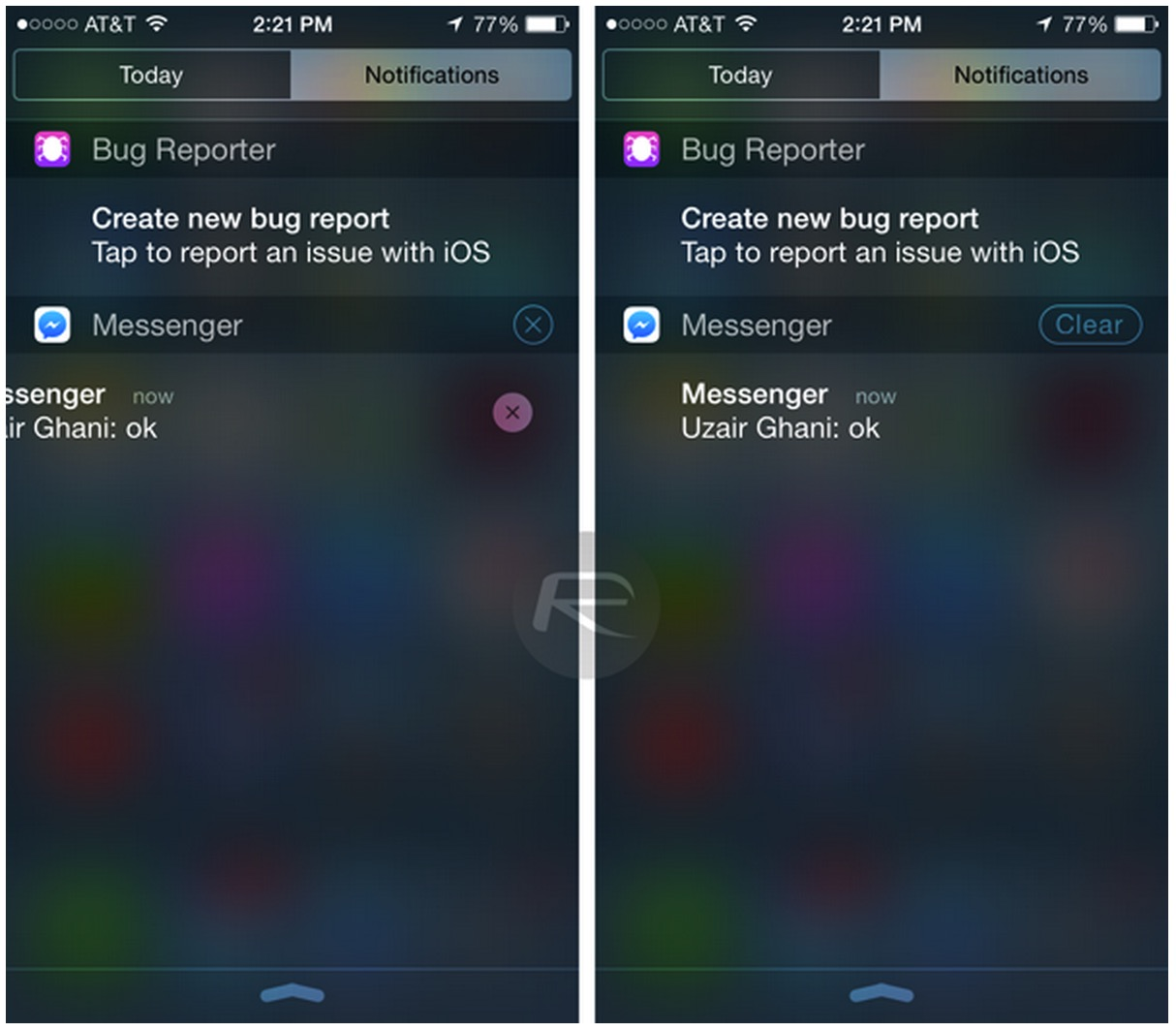 ios8b3 notification center