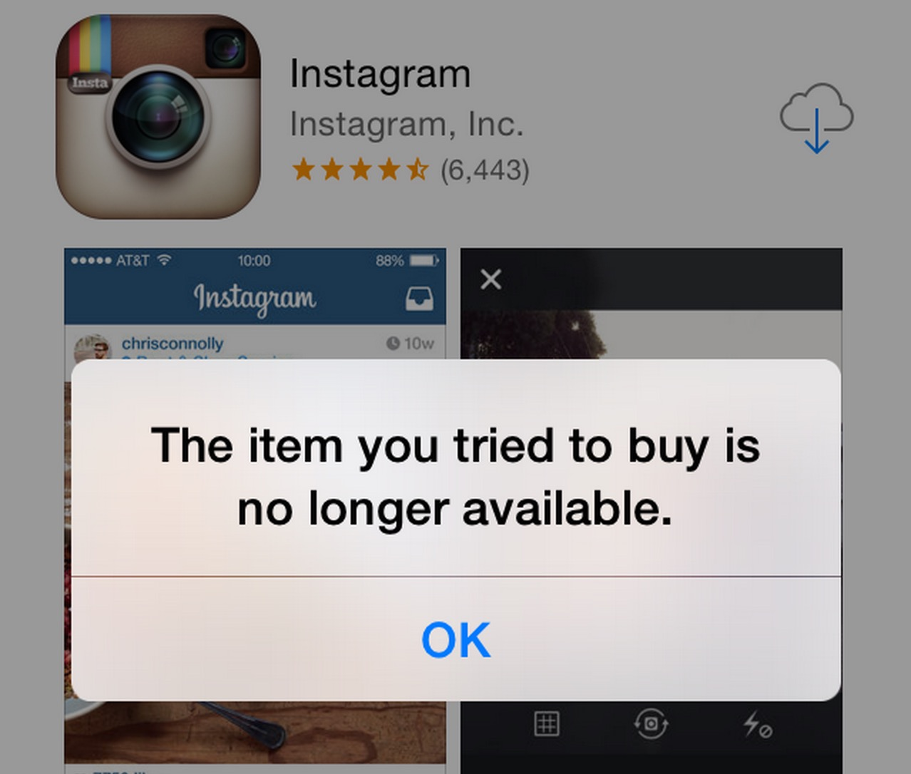 the item you tried to buy is no longer available
