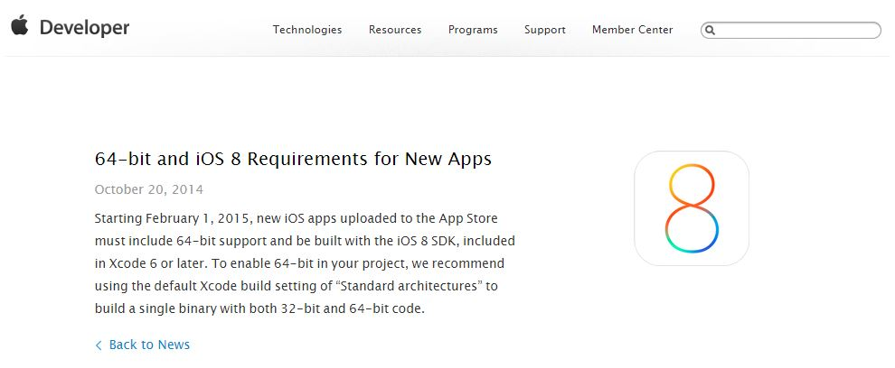 64-bit and iOS 8 Requirements for New Apps