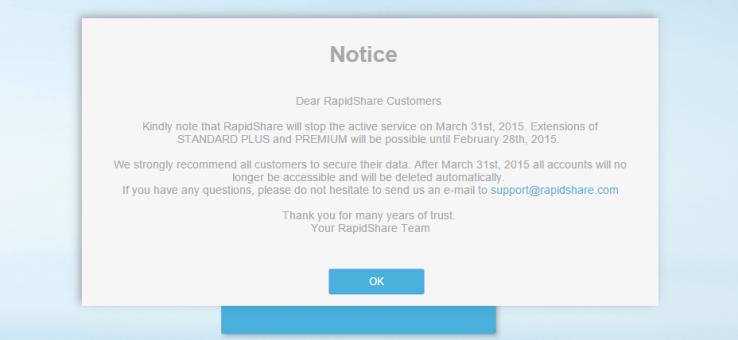 RapidShare Shuts Down