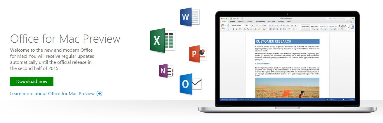 Office for Mac Preview 2015