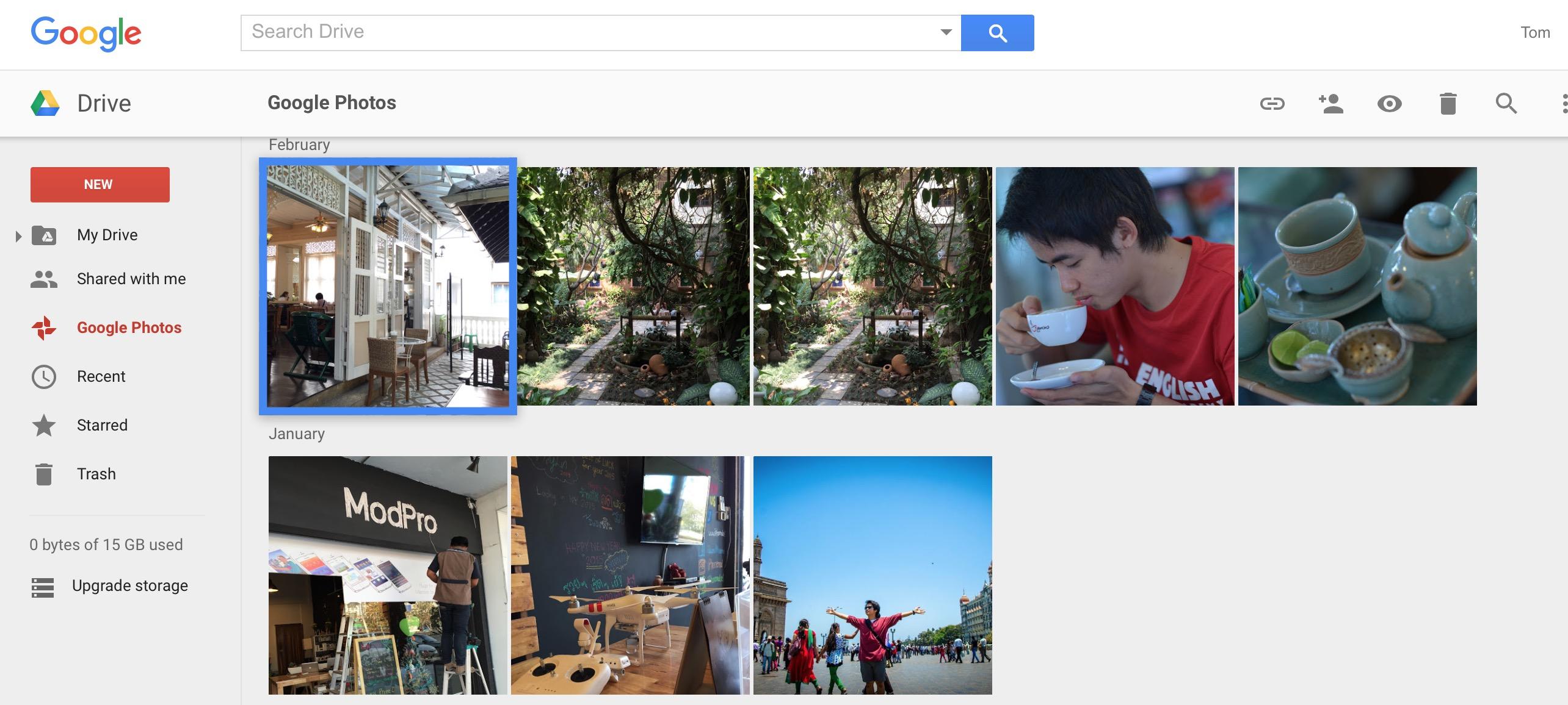 ตัวอย่างภาพที่อัปโหลดเก็บที่ Google Photos แล้ว