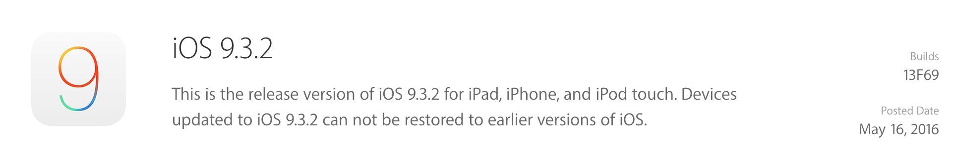Apple ปล่อยอัปเดต iOS 9.3.2 อย่างเป็นทางการ (พร้อมรายละเอียดการอัพเดท)