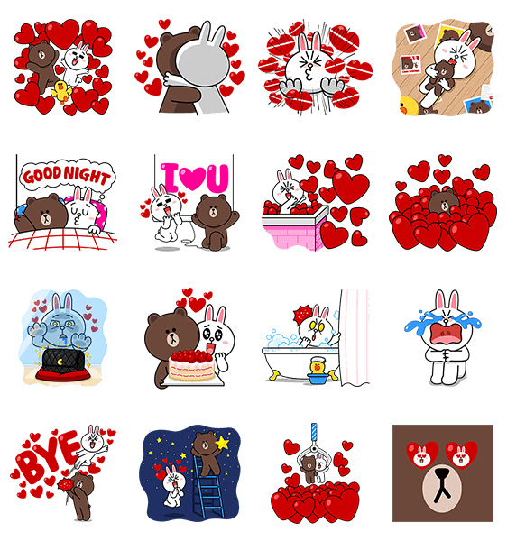 LINE pop-up stickers frist set