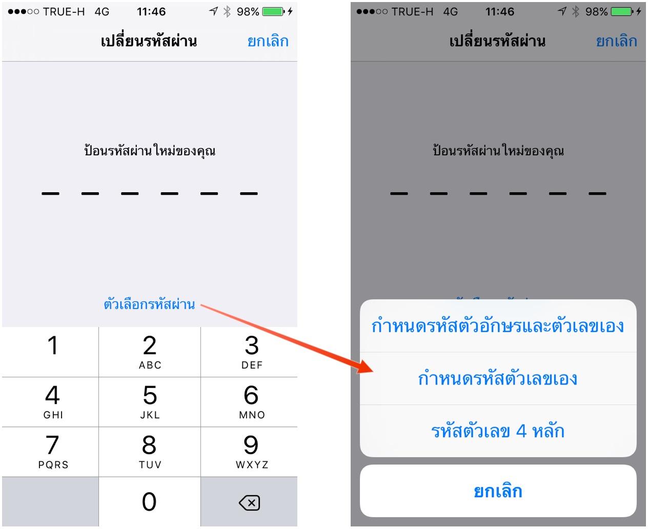 passcode option