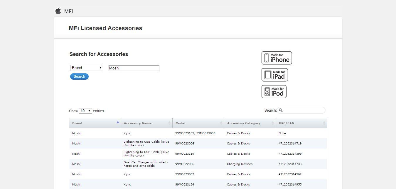 MFi Licensed Accessories