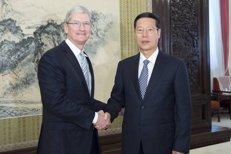 TimCook และ Zhang Gaol - wsj.com