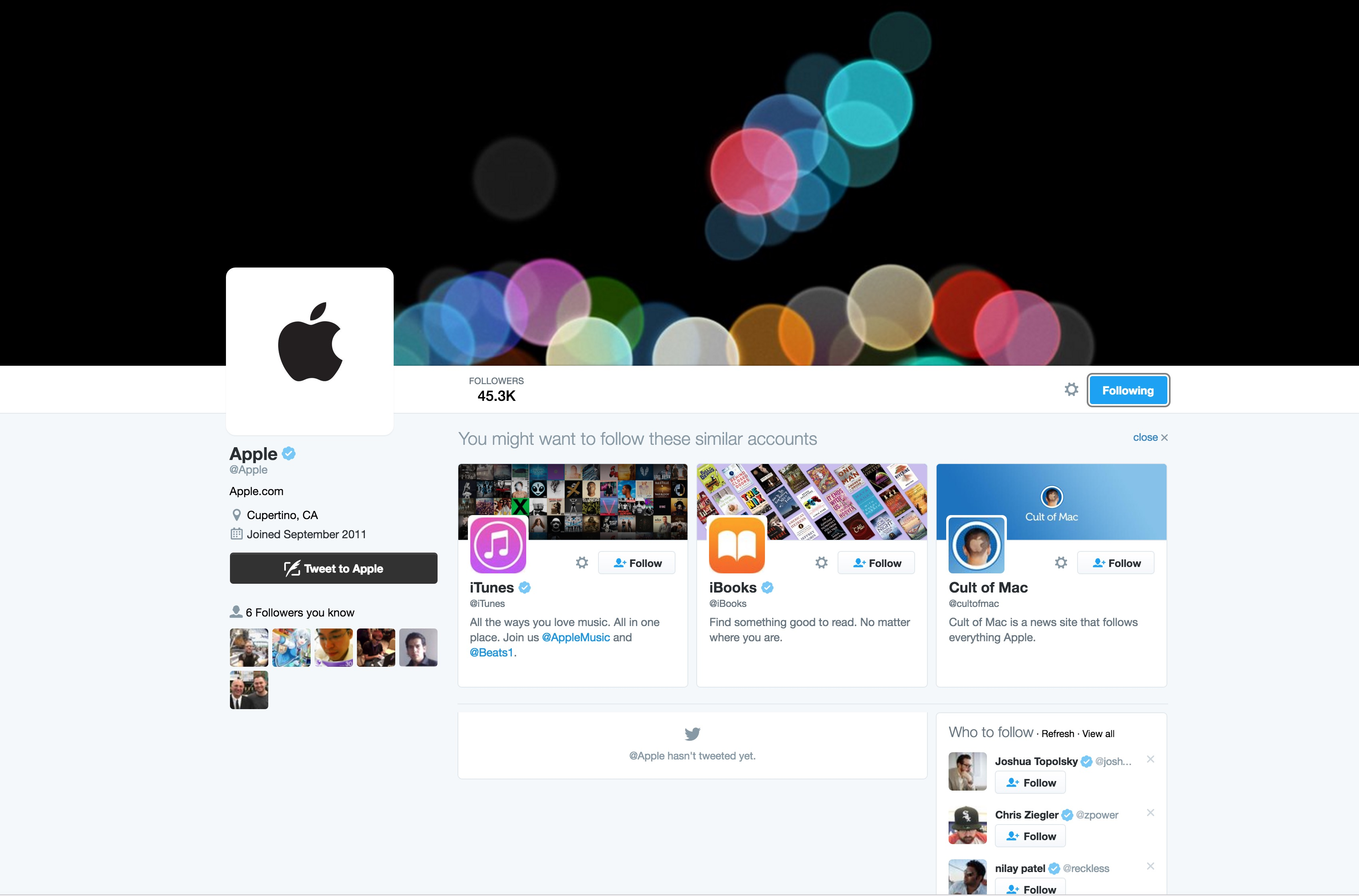 apple twitter account