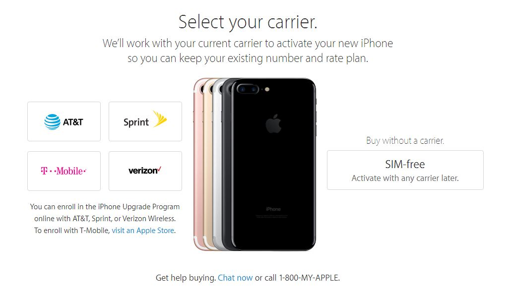 iPhone 7 - Select your carrier