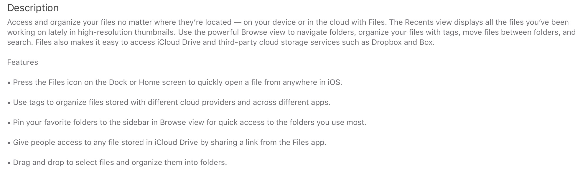 files for ios feature