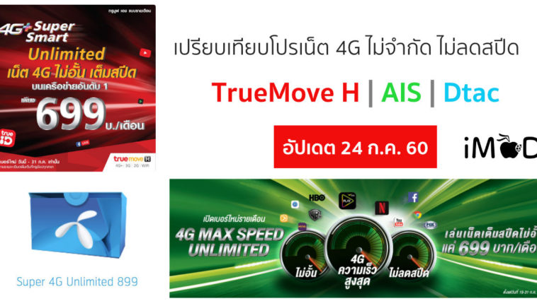 4g Unlimited Compare July 2017
