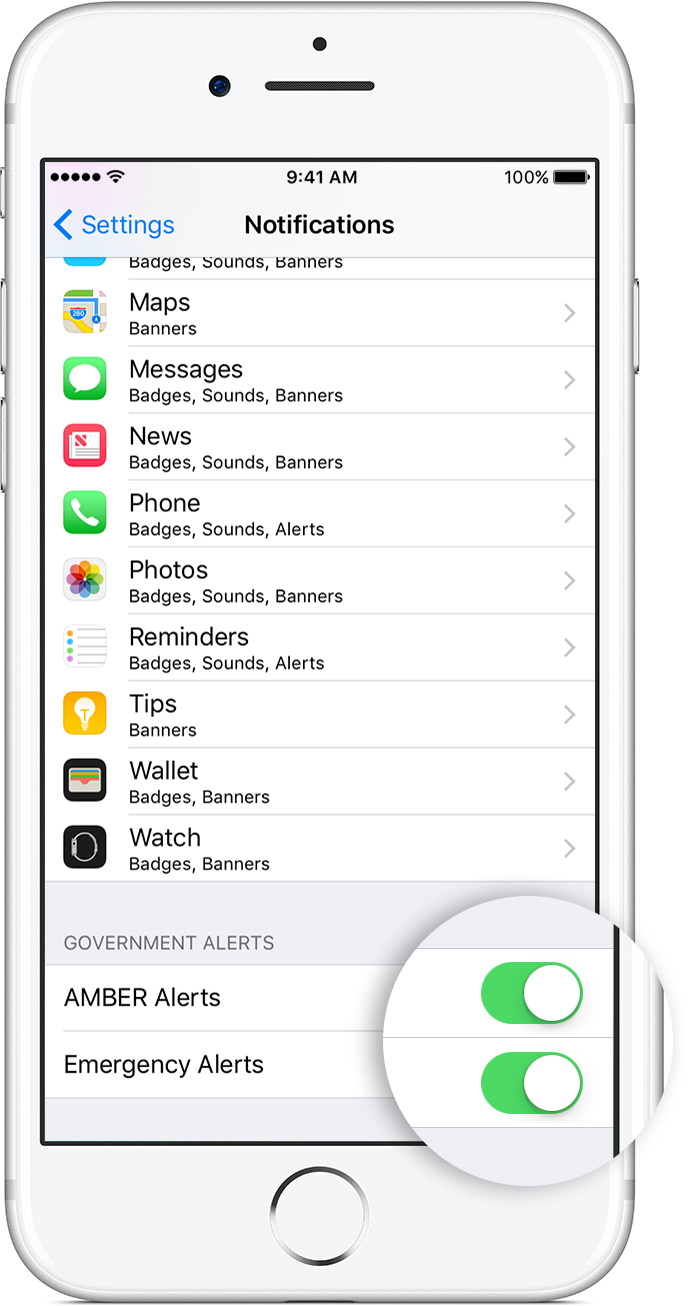 Ios10 Iphone7 Settings Notifications Government Alert Callout