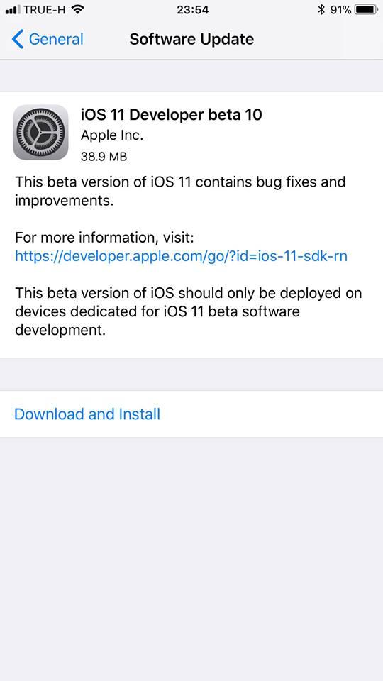 Ios11 Beta 10 1