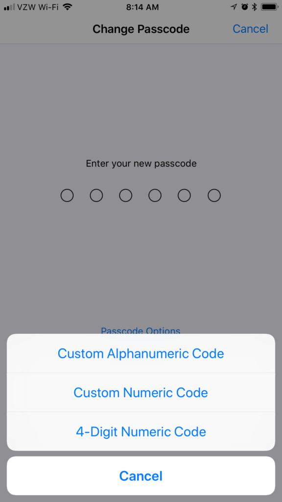 Ios 11 Passcode Options