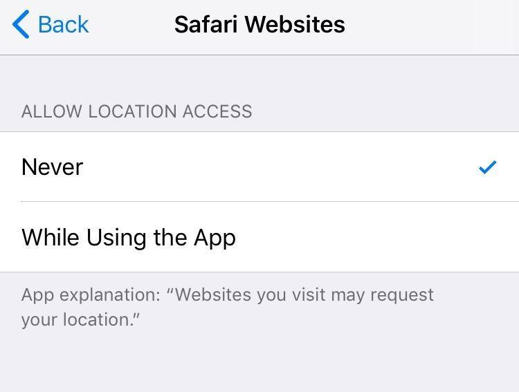 Disable Location Services For Safari