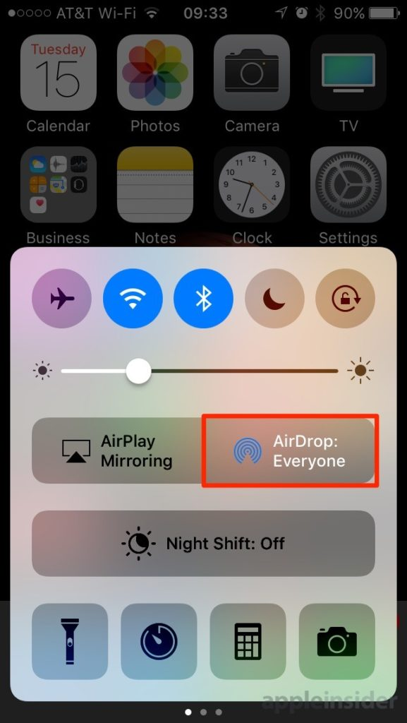 Open Airdrop In Ios 10 Control Center