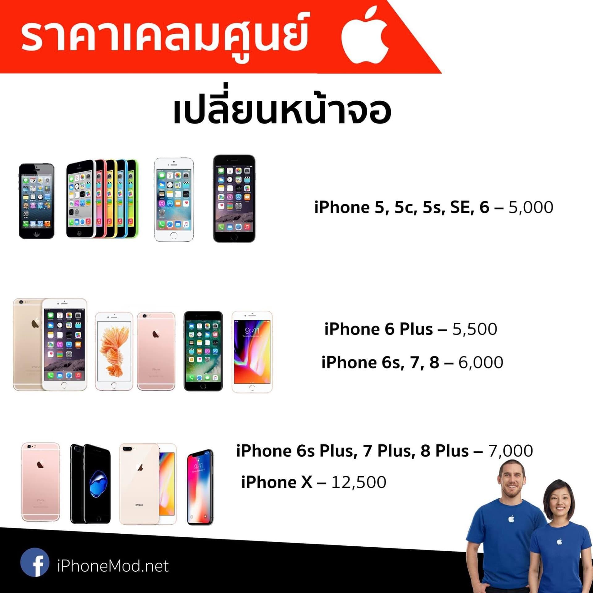 ราคาเปลี่ยนจอ Iphone Aasp Jan 2018
