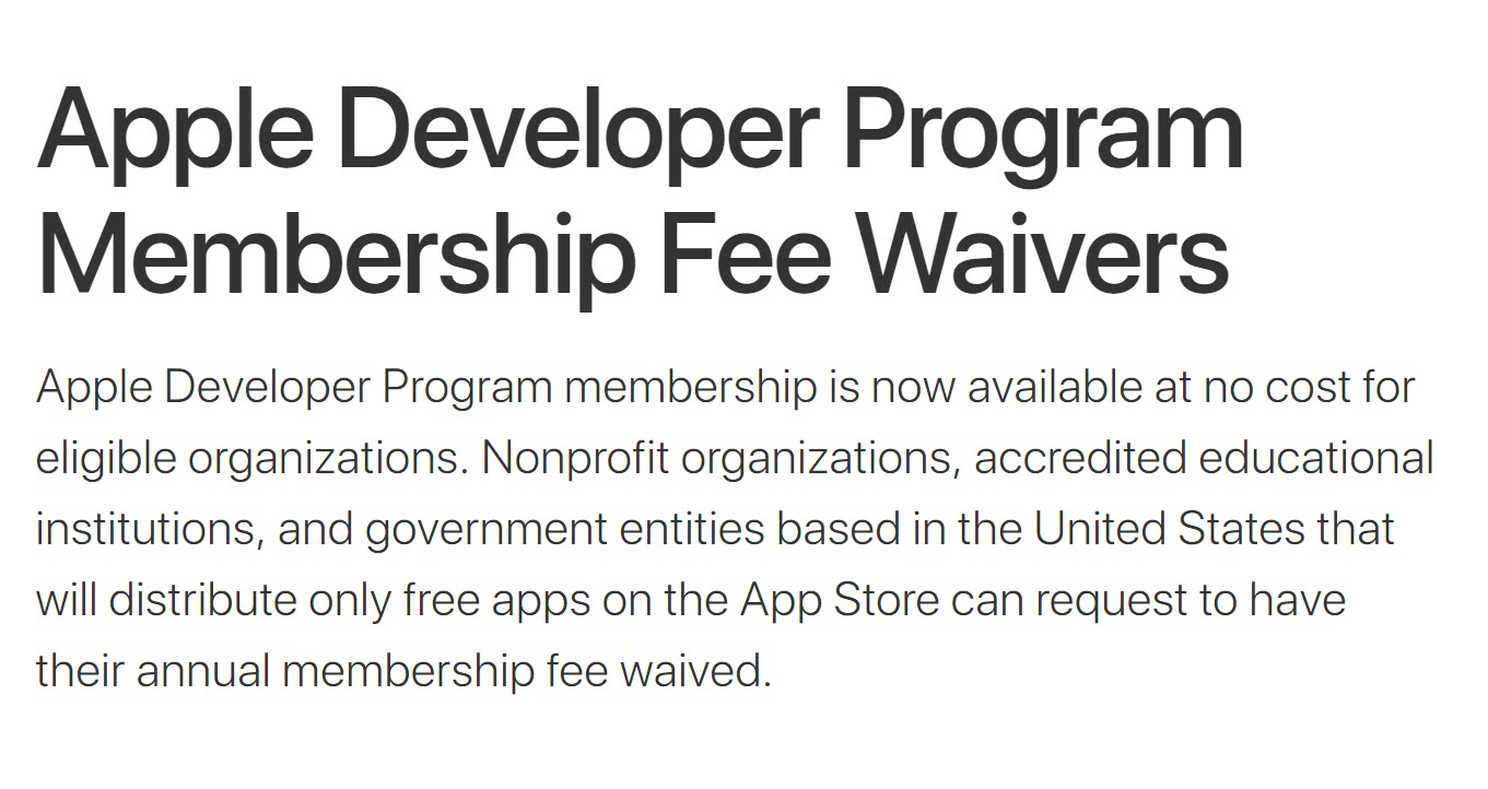 Apple Developer Program Membership Fee Waivers 1