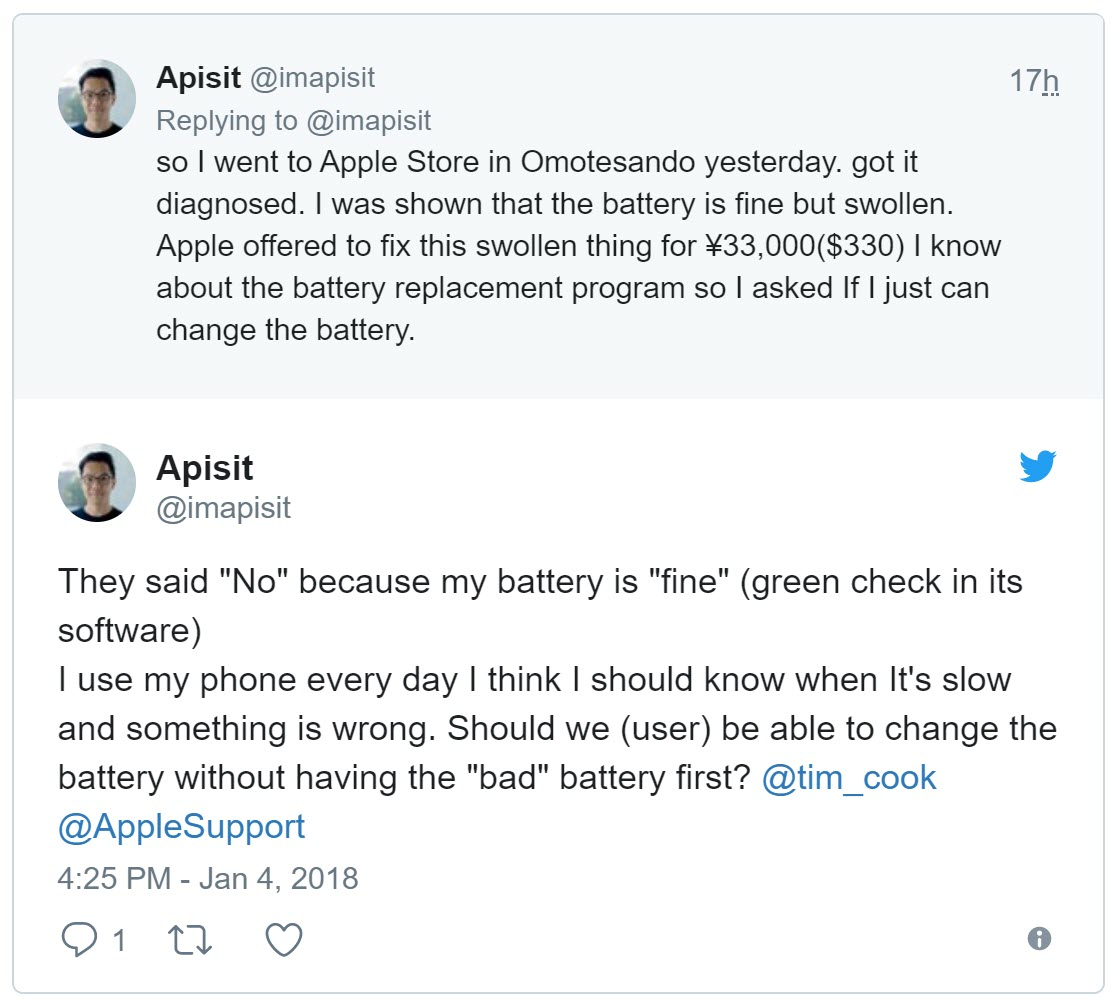Apple Battery Replacement User Complain 3