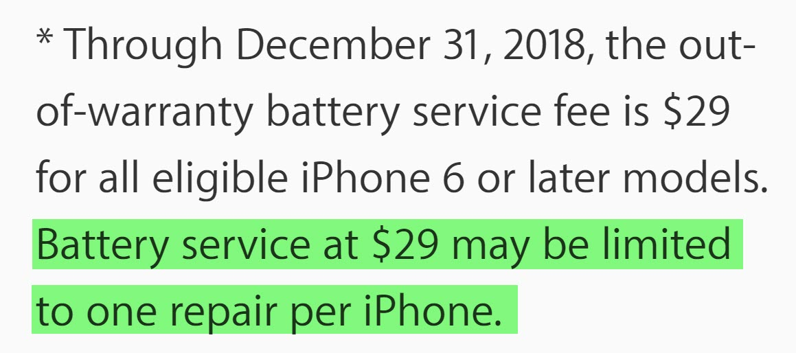 Battery Replacement Limit One Per Iphone 1