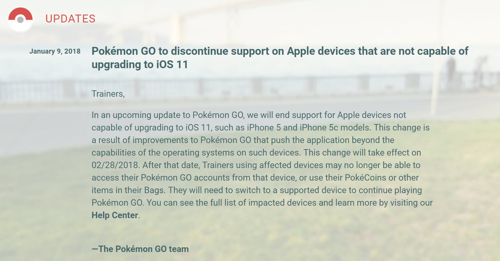 Pokemon Go Discontinued Support Iphone 5 1