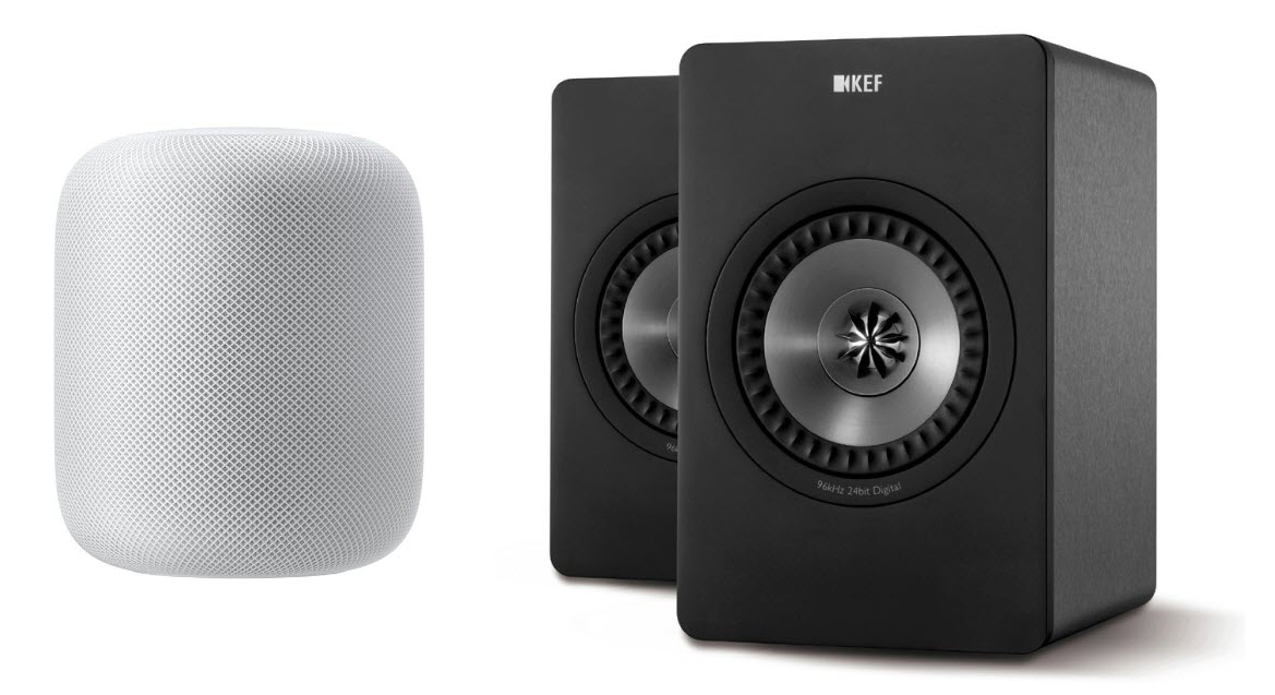 [ซ้าย] ลำโพง HomePod - [ขวา] ลำโพง KEF X300A