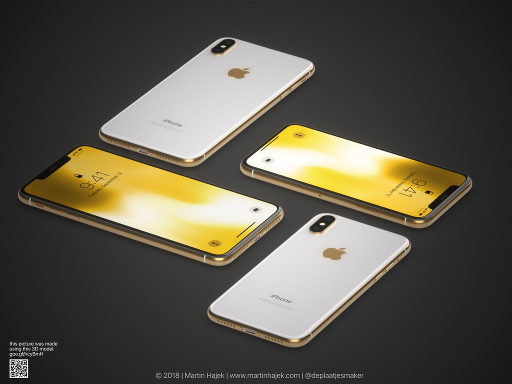 Iphone X Gold Frame Render Image 6