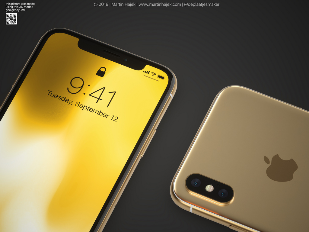 Iphone X Gold Frame Render Image 7