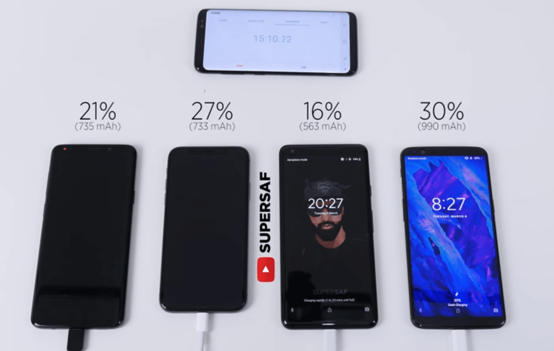 Galaxy S9 Plus Iphone X Pixel 2 Xl Oneplus 5t Battery Charge Speed Test 3