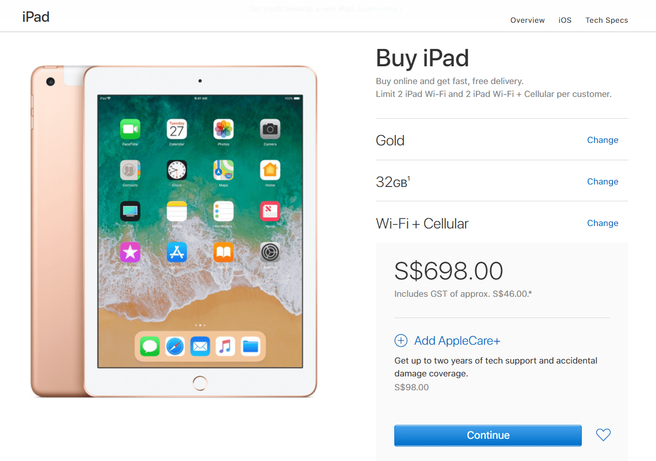 Ipad 9 7 Inch 2018 Released Apple Store 1