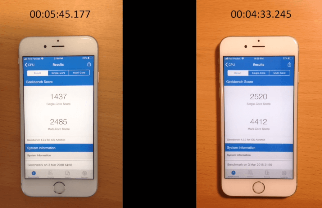 Iphone 6s Before After Battery Replacement Performance 5
