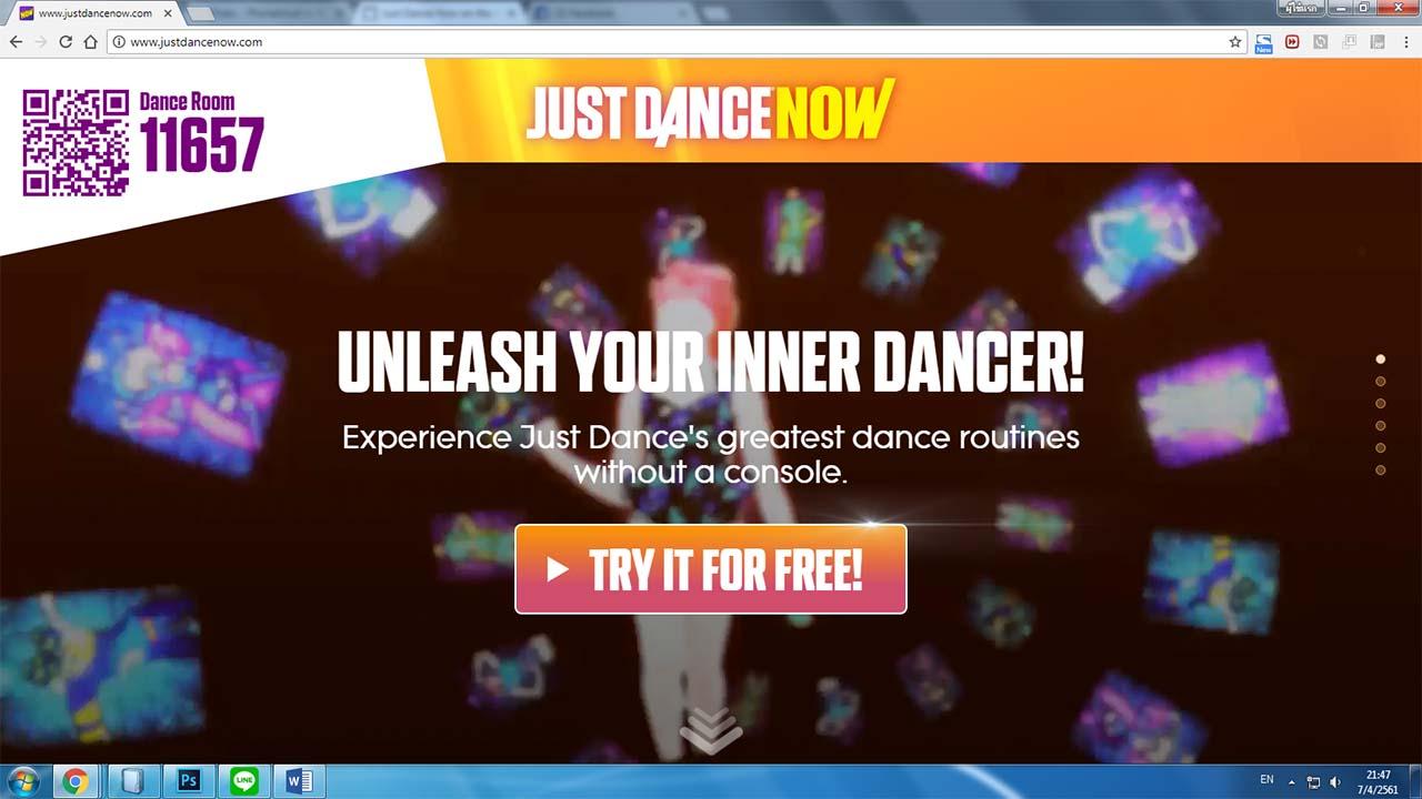 เต้นออกกำลังกายด้วย iPhone แสดงท่าเต้นผ่านหน้าจอ Computer