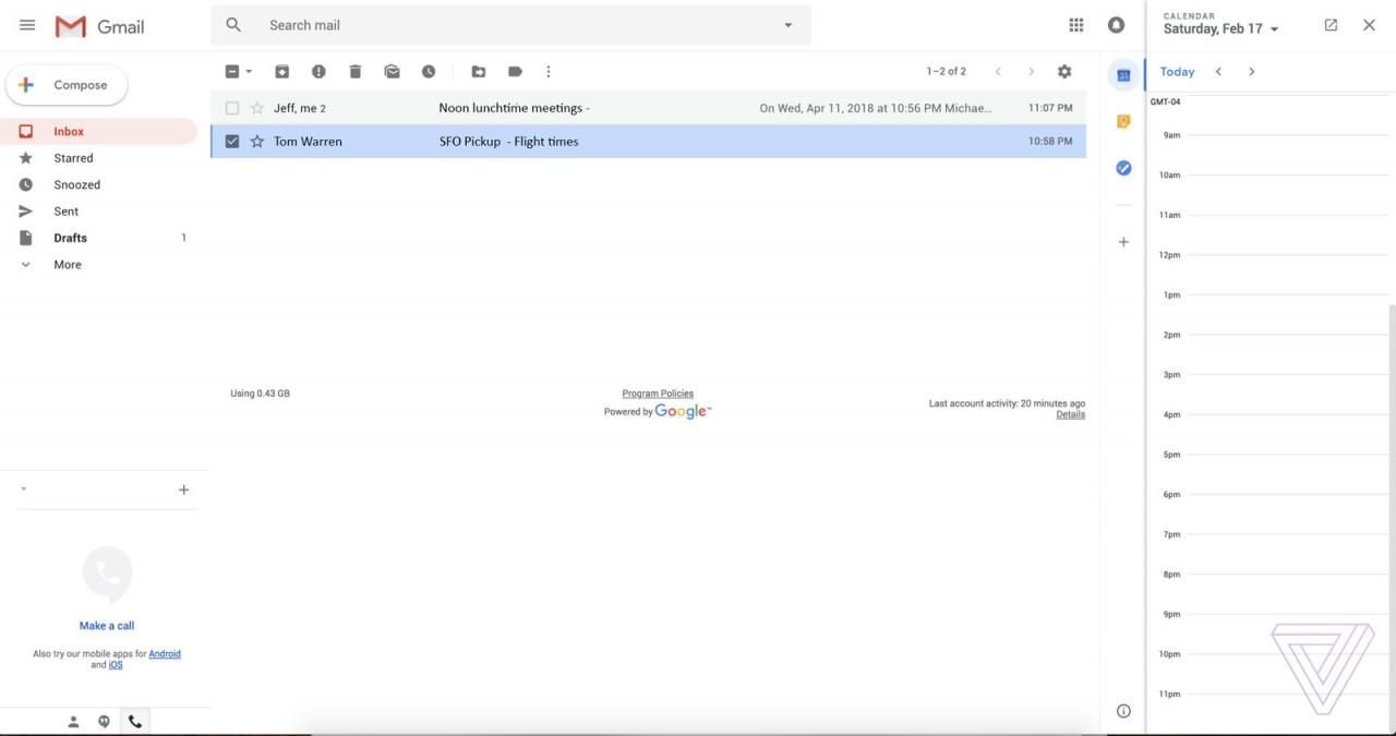 Gmail Web Redesign Screenshot 1