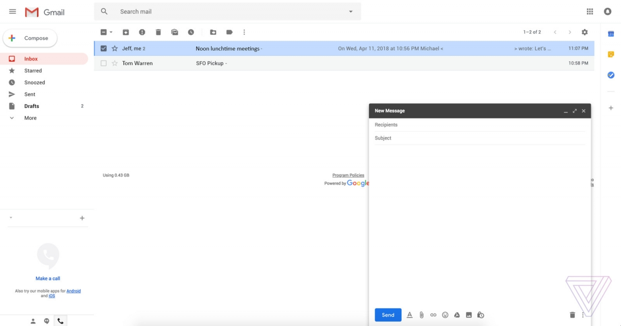 Gmail Web Redesign Screenshot 2