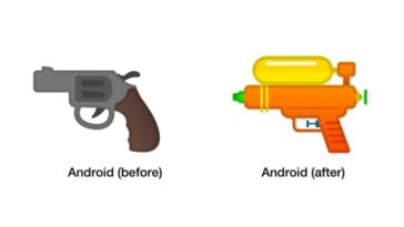 Google Turning Pistol Emoji Squirt Gun Cover