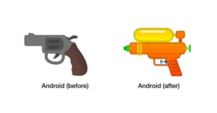 Google Turning Pistol Emoji Squirt Gun Cover