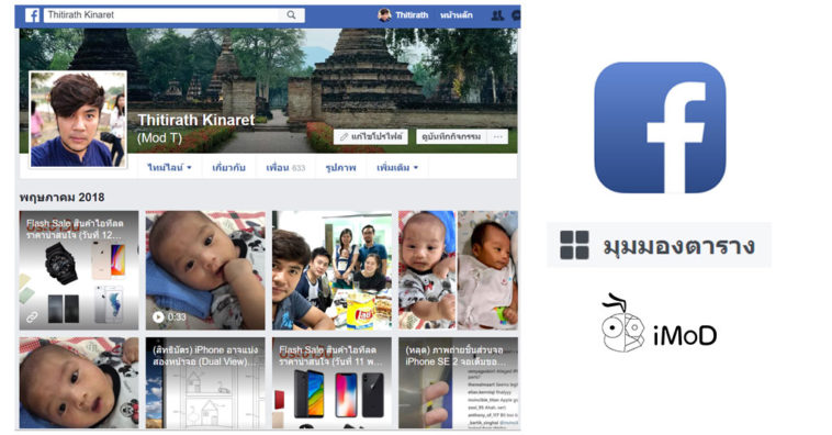 Facebook Web Grid View