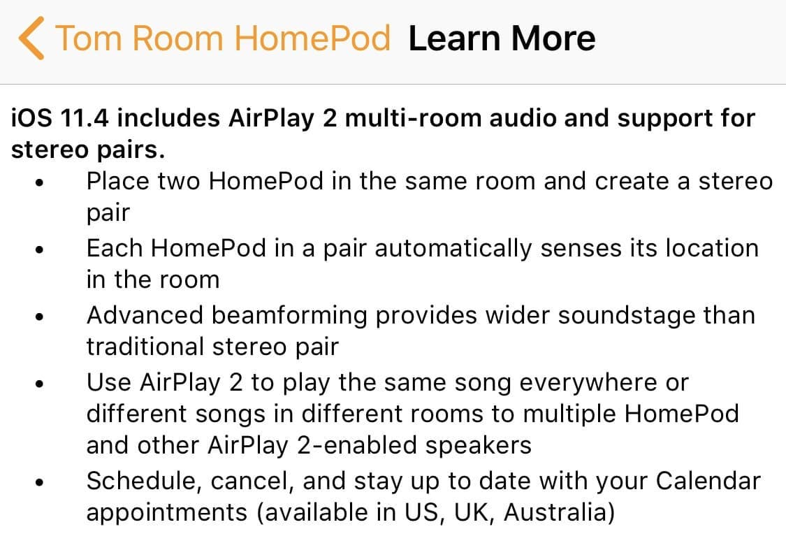 Homepod 11.4 Change Log