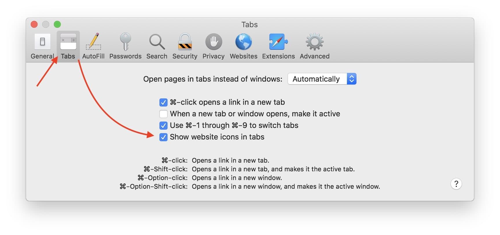 Enable Show Website Icon On Taps Safari