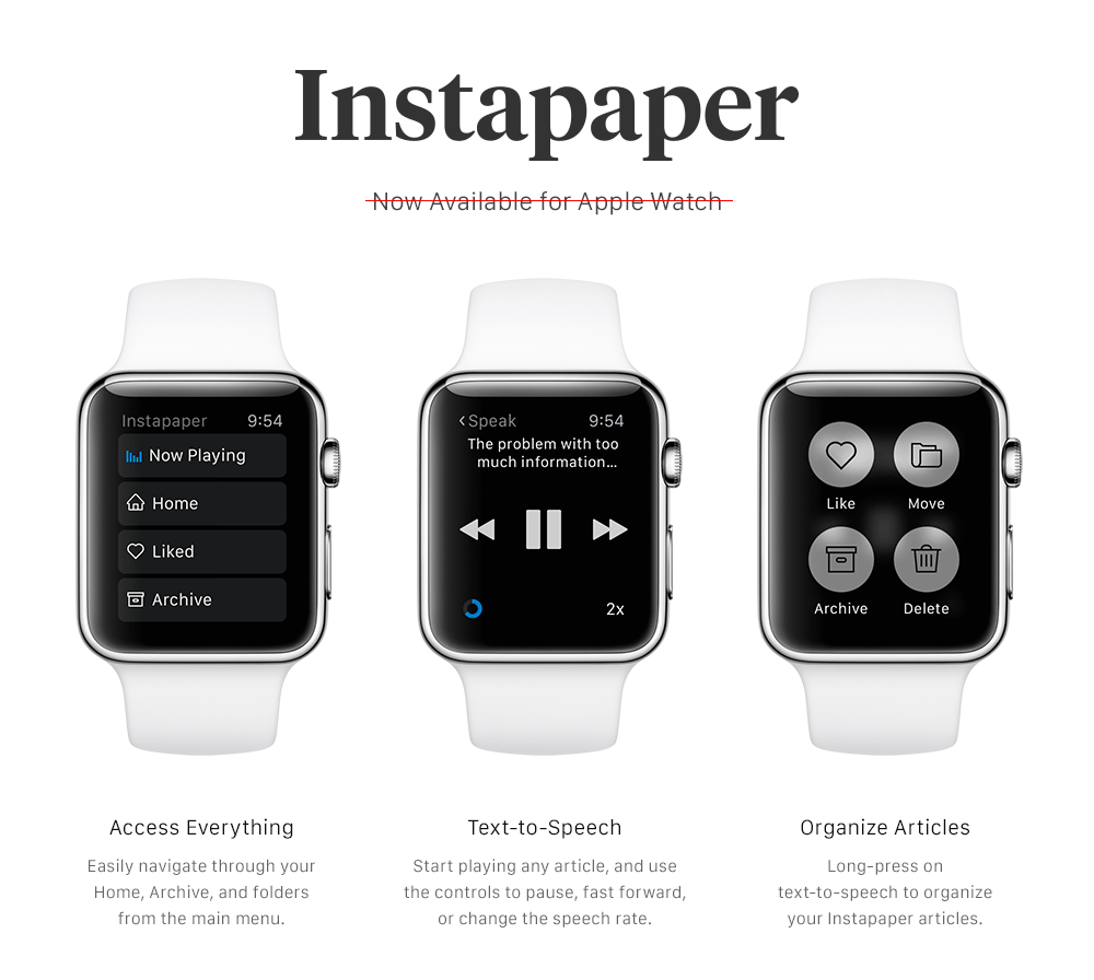 Instapaper Remove Support For Apple Watch 2