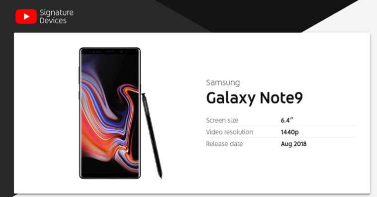 Note 9 Wins Youtube Signature Devices 2018