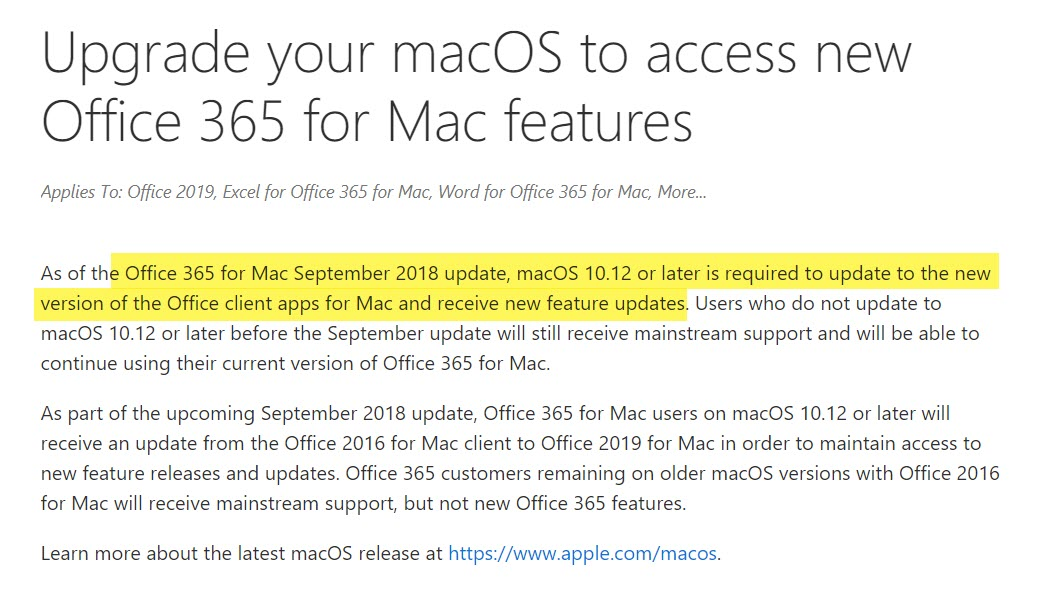 Office 365 For Mac Require Macos High Sierra Or Higher 1