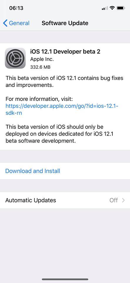 Ios 12 1 Developer Beta 2 Seed Img 1