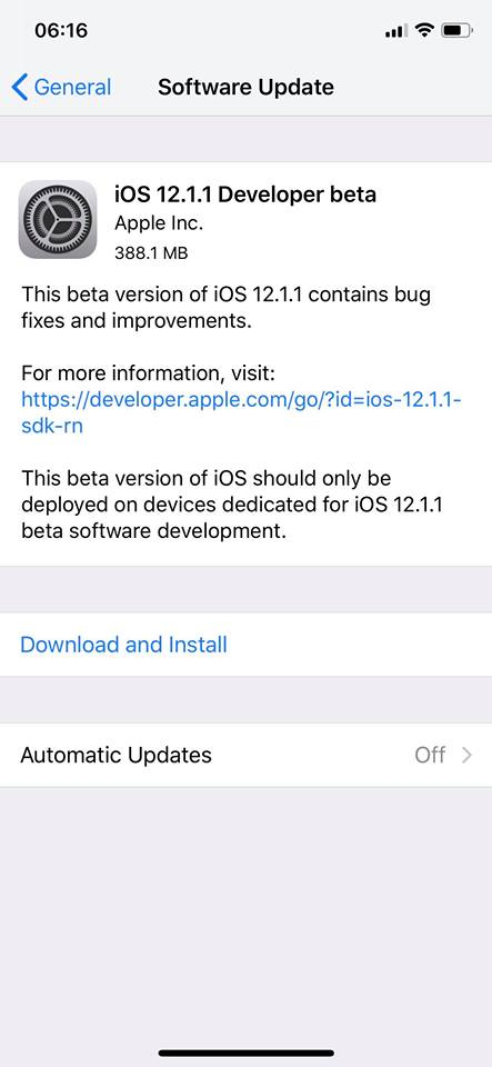 Ios 12 1 1 Developer Beta 1 Seed Img 1