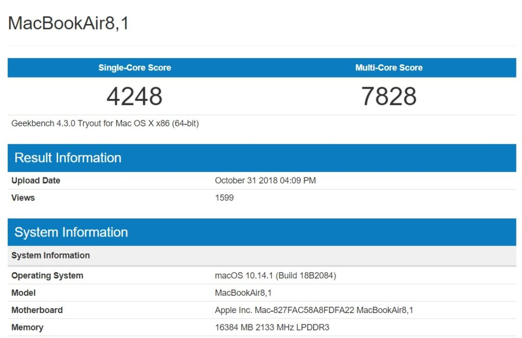 Macbook Air 2018 Geekbench Report Img 1