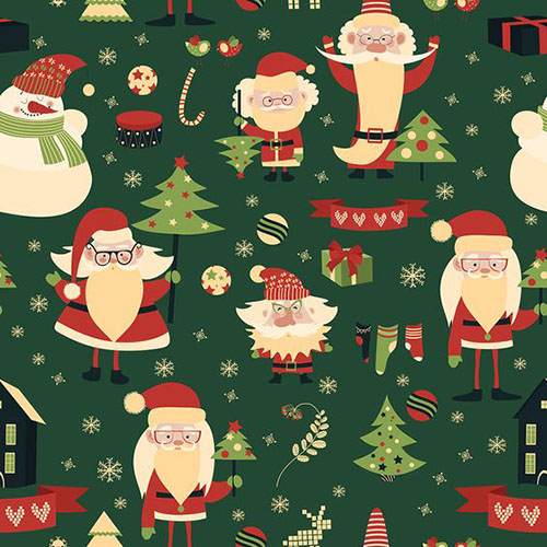 Cute Merry Christmas And Happy New Year Seamless Pattern
