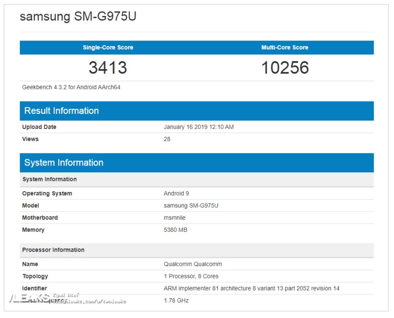 Galaxy S10 Plus Geekbench Leaks Img 1