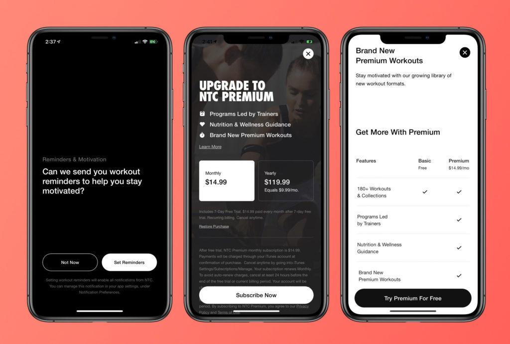 Nike Training Club 6 0 Update Notification And New Premium Plan 1